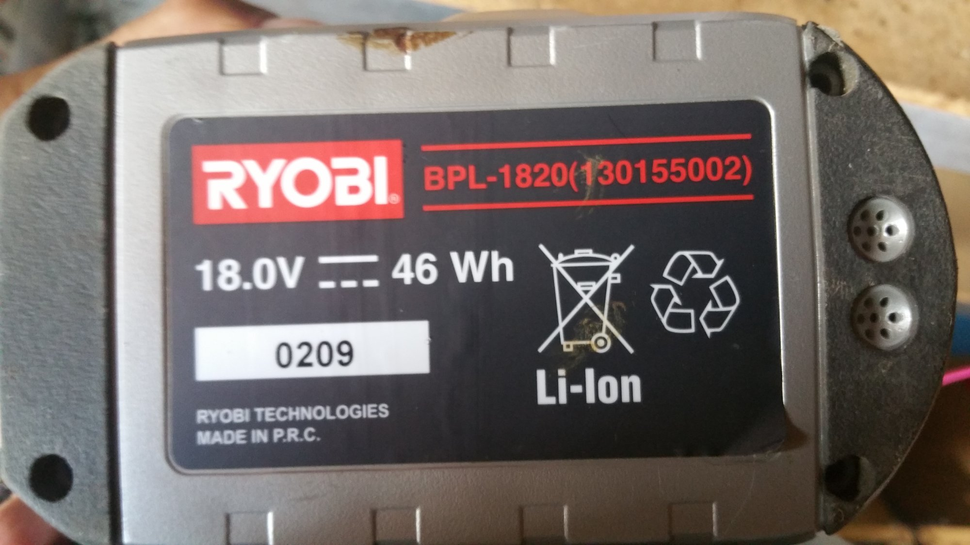 Ryobi Li-ion battery pack (Similar to Bosch, Makita Li-Ion Packs)